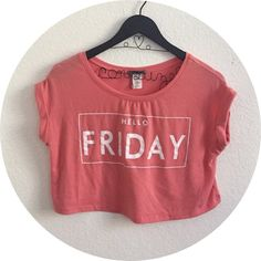 Coral crop top Be a rebel and wear this on a Tuesday, oh the horror Trendyland Tops Crop Tops