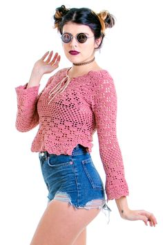 90's does 70's Mauve Li'l Mama Crocheted Bell-Sleeved Top - XS/S
