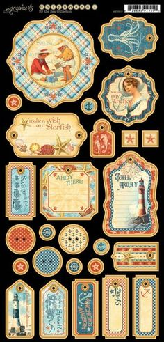 Chipboard tags from our new collection, By the Sea! Look for it in stores in early February #graphic45