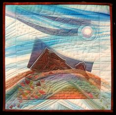 Miners' Warning, Coober Pedy Alvena Hall Skinny Quilts, Textile Fiber Art, Landscape Quilts, Quilt Art, Quilted Wall Hangings, Quilt Designs, Free Motion Quilting, Nature Inspired, Quilting Ideas