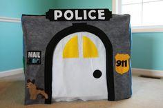 Custom Police Station Playhouse  Felt Card Table by FairyBugsShop, $95.00