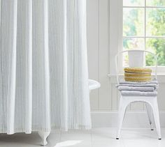 Vintage Ticking Stripe Shower Curtain #potterybarn
