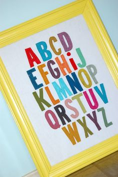 ABC Frame - Great for your child's room, you can do girl/boy colors if you prefer.