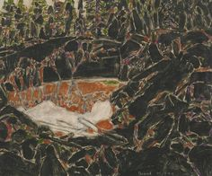 David Milne (Canadian 1882 - Ref Pool, Temagami, oil on canvas: x 61 cm. David Milne, Canadian Art, Autumn Art, Watercolor Techniques, Landscape Paintings, Landscapes, Impressionist, Painting & Drawing, Oil On Canvas