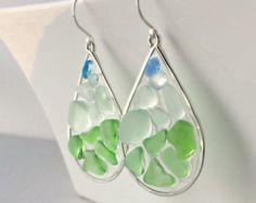 Blue Green Sea Glass Earrings, Beach Glass Hoops, Resin Hoop Earrings, Boho Beach Hoops, Seafoam, Aqua