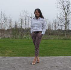crispy shirt and nude heels