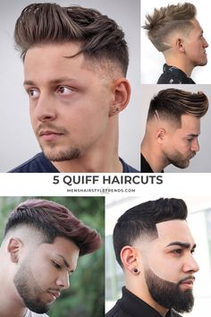 Check out these cool and modern ways to wear the quiff haircut. Add a peak to a pompadour, spikes or any fade haircut for men. Quiff Haircut, Quiff Hairstyles, Men's Hairstyle, Modern Quiff, Types Of Fade Haircut, Mens Modern Hairstyles, The Quiff, Hot Haircuts, Mens Hair Trends