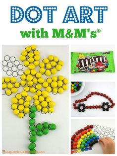 Practice fine motor skills and color sorting while making fun dot art with M&M's Crispy. sponsored by M&M's. #CrispyIsBack