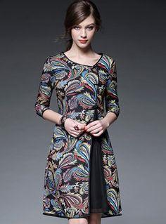 Vintage Print Patch Dress