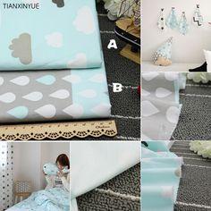 50*160 cm 2 unids/lote tela de sarga 100% algodón azul nubes y gotas de lluvia paño BRICOLAJE bebé almohada patchwork Costura tela que acolcha