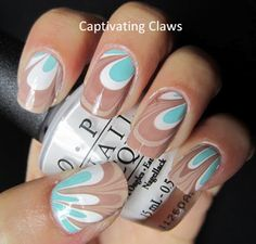 blue & brown water marble nails