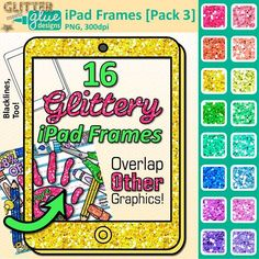 IPad tablet frames clipart: Your students will flip when they see these glittery, fun iPad tablet frames and you will be the talk of the school for making their learning environment exciting. Use them in smartboard activities, center activities, handmade tests and quizzes, even flashcards can be jazzed up. LINK: https://www.teacherspayteachers.com/Product/iPad-Frames-Clip-Art-PACK-3-2045840 #art