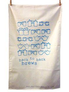 back to back brews tea towel by marthaandhepsie on Etsy, £8.50