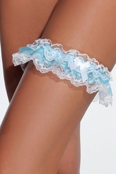 White & Blue Gathered Lace Leg Garter 104 Coquette  Add the perfect finishing touch to your sexy costumes or seductive lingerie looks with this lovely lace garter. The flirty white and blue leg garter is trimmed with lace and features a satin bow detail.