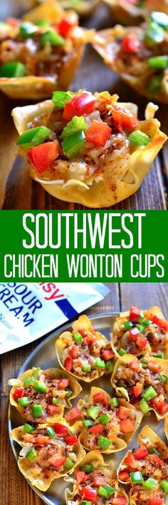 Southwest Chicken Wonton Cups are loaded with creamy chicken, cheese, and peppers and packed with delicious southwest flavor. The perfect holiday appetizer - sure to become a new family favorite! #dollopofdaisy #ad #sk @daisybrand