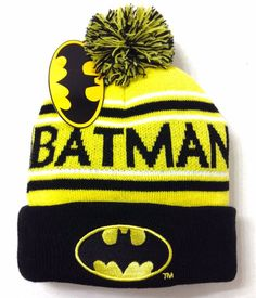 New$20 BATMAN POM BEANIE Yellow/Black Cuffed Winter Knit Ski Hat Men/Women/Teen #DCComics #Beanie
