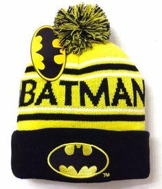 New Nwt BATMAN POM BEANIE Yellow/Black Cuffed Winter Knit Ski Hat Men/Women/Teen #DCComics #Beanie