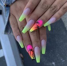 It is very important for women to keep their nails fashionable. Coffin nails have always been a popular trend. Long coffin nails are one of the bolder nail art designs. Long coffin nails are very eye-catching and suitable for all women who love beaut Bright Summer Acrylic Nails, Best Acrylic Nails, Acrylic Nail Designs For Summer, Summer Nails Neon, Coffin Shape Nails, Coffin Nails Long, Neon Nail Designs, Nails Design, Tropical Nail Designs