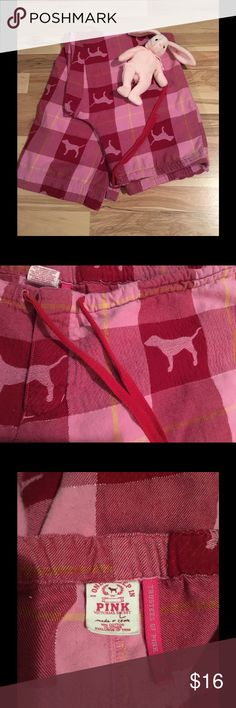 """🆕VS Pink Dog Pajama Pants🆕 Made of midweight cotton flannel. Drawstring waist, no elastic. 38"""" waist when fully loosened/30"""" inseam.button fly, sparkly thread between each colored square. Prewashed and preloved. No stains, rips, or damage. 🎁Click the """"Add to Bundle"""" button to purchase multiple items from my closet zt the same time; you'll save 10% on all of it and only pay one shipping fee!🎁 Victoria's Secret Intimates & Sleepwear Pajamas"""