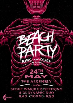 Beach Party 'Ribs or Death' Launch Poster by Ian Jepson, via Behance
