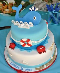 Whale Cake with handmade, edible whale and clams