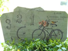 Bicycle Wedding table numbers French bicycle by Sweetturquoise Wedding Table Decorations, Wedding Table Numbers, Bicycle Themed Wedding, Bridal Shower Tables, Green Table, French Wedding, Table Cards, Vintage Bridal, Garden Wedding