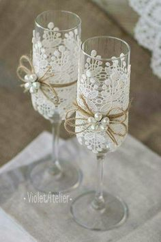 wedding glasses with lien rope white lace and white pearls atelieviolet via face. wedding glasses with lien rope white lace and white pearls atelieviolet via face. Wedding Toasting Glasses, Wedding Flutes, Toasting Flutes, Diy Wedding Glasses, Decorated Wine Glasses, Wedding Toasts, Wedding Accessories, Pearls, White Lace