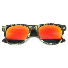 25aca13dec zeroUV Camo Print Wide Temple Square Colored Mirror Lens Horn Rimmed  Sunglasses 54mm Green   Fire
