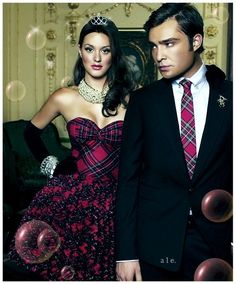 Ed Westwick and Leighton Meester in plaid