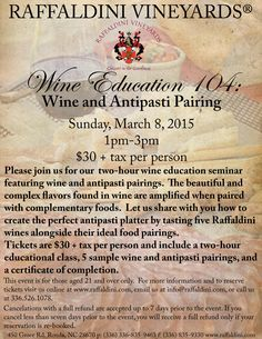 Our next Wine Education event will be all about perfecting the bet pairings for a wine and antipasti platter!  Sunday, March 8, 2015 from 1pm - 3pm, $30 plus tax per person Antipasti Platter, Wine Education, Romantic Night, Four Seasons, Wine Tasting, Vineyard, March, Sunday, Events