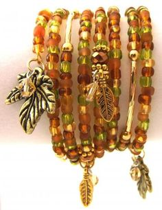Golden Leaves Mixed Media Memory Coil Bracelet - Fall, Autumn, Gold, Green, Boho by StarshineBeads for $36.00