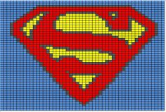 Corner to corner crochet Superman for Squish. Graph Crochet, C2c Crochet, Tapestry Crochet, Crochet Stitches, Free Crochet, Crochet Cross, Crochet Round, Crochet Squares, Knitting Charts