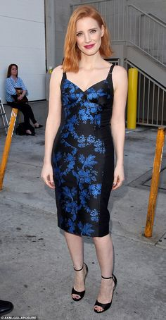 Lovely: Actress Jessica Chastain wore a blue and black fitted dress as she arrived at the Jimmy Kimmel Live studios in Hollywood on Wednesday