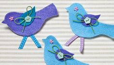 Learn how to make cute felt bird brooches with this easy to follow how to with free download.