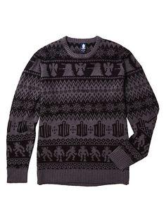 Doctor Who TARDIS Intarsia Pullover Sweater, GREY