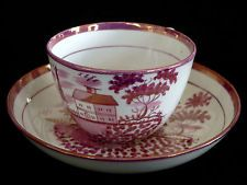 """early 1800 pink luster CUP, SAUCER, schoolhouse, fisherman, bldg, birds, 3.5""""dia"""
