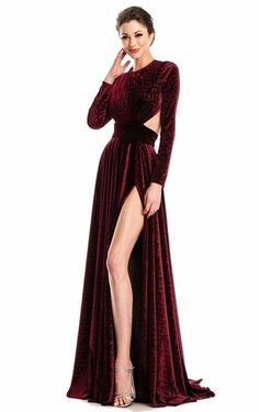 21 burgundy satin deep v neck slit prom dress with long sleeves 2 « housemoes Source by baysoylar gowns with sleeves Long Sleeve Formal Gowns, Evening Gowns With Sleeves, Red Evening Gowns, Formal Dresses With Sleeves, Long Sleeve Gown, Maxi Dress With Sleeves, Velvet Dress Long Sleeve, Mode Abaya, Fashion Dresses