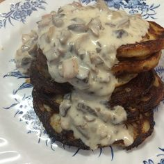 Potato pancakes with bacon and mushroom gravy. My Lithuanian grandma used to make piles of these. I doubt she would be proud of my efforts, they were not as good as hers. Plus the kitchen looked like a bomb had gone off.