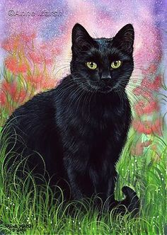 BLACK CAT THOUGHTS OF SUMMER LTD EDITION PRINT PAINTING ANNE MARSH ANIMAL ART:
