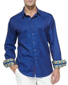 Robert GrahamTidepool Long-Sleeve Sport Shirt, Blue
