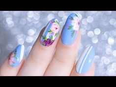 STRIPED HAND PAINTED FLORAL NAIL ART TUTORIAL - YouTube - Lacquerstyle  #kgrdnr #lacquerstyle #nails #nailartist #nailart #floralnails