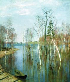 Isaac Ilyich Levitan - Spring. Big water, (1897).  Oil on canvas, 64,2 × 57,5 cm.  The State Tretyakov Gallery, Moscow, Russia.