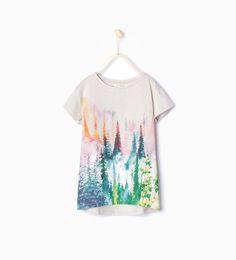 ZARA - COLLECTION AW15 - T-shirt avec forêt scintillante imprimée