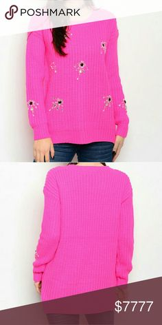 "Hot pink oversized sweater Brand new,Boutique item  Add a sassy twist to your boring sweater collection with this fabulous chunky knitted oversize sweater in a gorgeous HOT PINK color featuring rhinestone and bead details. This sweater is a season must have!  100%acrylic Size S/M Bust 21""across/front legnth24.5"",back length 26.5"" Size M/L Bust 22"" across/front length 25"",back length 27""  PRICE IS FIRM Sweaters"