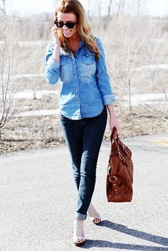chambray shirt with white or black skinnies, or a maxi skirt.