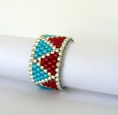 Red and Turquoise Beaded Ring Chevron by BrownIrisCreations, $12.00