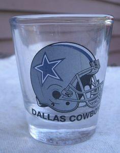 Dallas Cowboys Helmet Design Shot Glass,clear glass,vintage 1980s -NFL football #HunterMFG #DallasCowboys