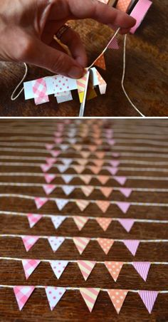 A string banner of mini flags adds a touch of fun to any card, sign, or invitation you're crafting. Use this bunting template to create the same flag banner below.