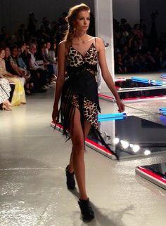 Nadja Bender in a leopard print dress at #Rodarte #NYFW @Nadja Trimbos Bender