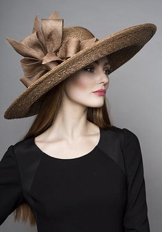 Rachel Trevor Morgan Millinery  Autumn Winter 2015 R15W12 Gold Italian straw hat with fine straw bows